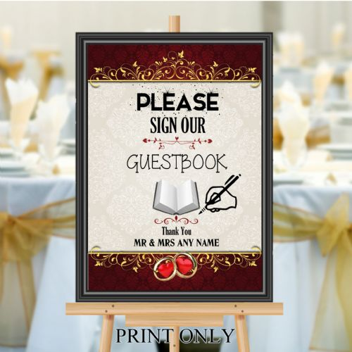 Personalised Wedding Please sign our Guest book Sign Poster Banner N202